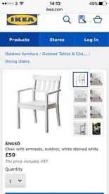 X4 IKEA ÄNGSÖ Chair with armrests, outdoor, white stained white