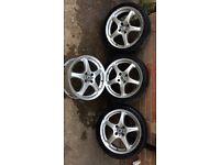 "Alloy wheels - League 17"" 5 spoke. 4 nut fitment. Fiesta, Clio, Corsa, saxo"
