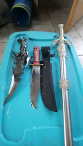 Mix set of sword and knives