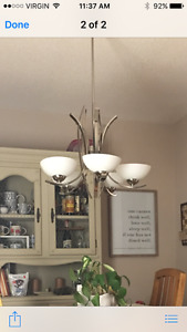 $10 chandelier. One dish missing