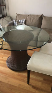 Glass table and microfiber chairs