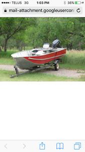 17ft alum boat 25 hp tiller motor 08