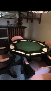 Oak Game Table with Leather Chairs