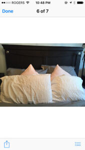 Double headboard with box spring and other items