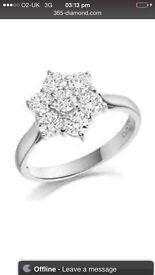 Platinum Seven Stone Diamond Cluster Ring