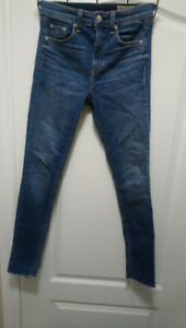 Rag and Bone High Rise Skinny EL CUT HEM, Color: Blue, Size: 26