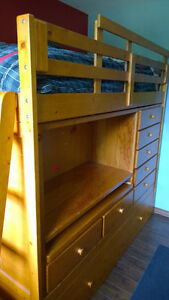 Solid Wood Bunk Bed with built in drawers and desk