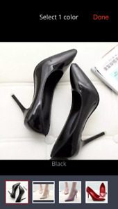 New Black Patton leather high heel shoes for sale, size 7 1/2