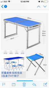 $80 New Folding Table and 4 Chair Indoor Outdoor Portable Clinic