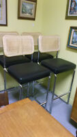 4 Marcel Breuer Cesca Style Black Leather and Rattan Bar Stools