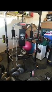 Exercise squat rack and cable combo