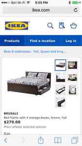 EXPRESSO IKEA double bed with drawers