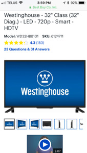 "32"" Smart TV, LED, Westinghouse, bought January 2018"
