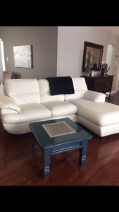 WHITE FAUX LEATHER SOFA with CHAISE