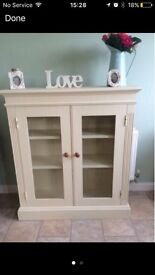 SOLID PINE IVORY CREAM GLASS FRONT BOOK SHELF DISPLAY UNIT CABINET