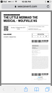 2 Tickets for Little Mermaid Play (Wolfville)