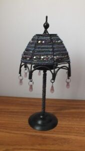 Tea Light Holder Table Lamp Covered with Gems & Beads
