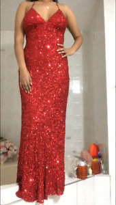 Red Sequins Prom Dress (10/10 condition) For Sale