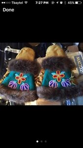 Leather beaded mitts / gauntlets