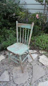 Antique Solid Wood Painted Chair Chippy Shabby Chic Rustic