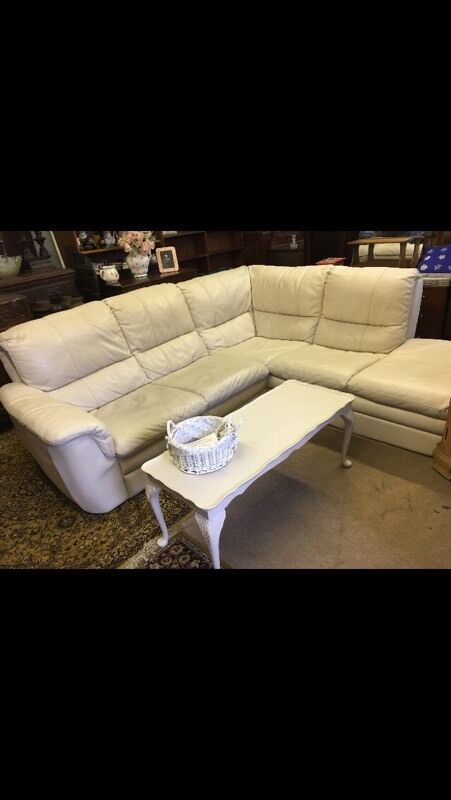 Modern cream Italian leather corner sofa