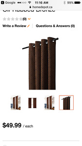 4 Panels of Home Depot Black Out Curtains-Brown