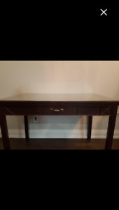 Solid cherry wood desk with drawer and glass cover