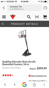 54 inch Spalding Hercules portable basketball system