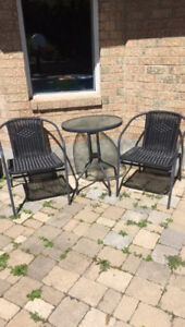 Black patio set table and two chairs