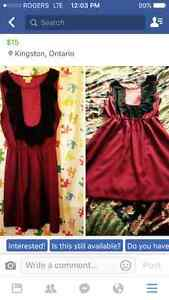 Red and black silk dress
