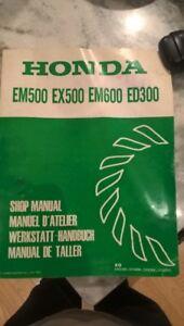 Honda generator shop  manual EM500 EX500 EM600 ED300