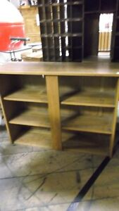 Antique Solid Wood Bookcase Hutch w Plate Display Groove