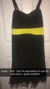 Black and White Polka Dress with Yellow Belt