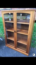 Vintage bookcase cabinet shelving cupboard with glazed doors