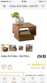 Brand new unopened Argos cubes side / end table OAK finish