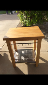 2 inch Butcher block table ,Sturdy has S/S shelf with S/S hooks