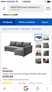 3year old IKEA  sectional sofa bed