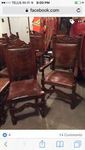 8 Antique Solid Wood & Leather Chairs