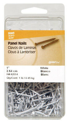 "NEW! HILLMAN Panel Nails 1"" Steel 1 LB White 42014"