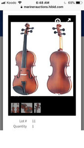 Mendini 4/4 MV300 Solid Wood Satin Antique Violin with Hard Case