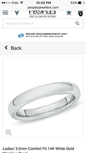 In search of 10k ( or higher) white gold band, size 4.5 - 5.