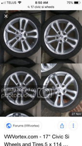 Wheels and tires in great shape SI Honda Civic wheels 17""