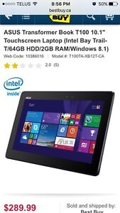 Asus transformer notebook T100 pretty much new