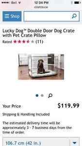 New Lucky Dog Double door Cratw with Pillow