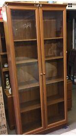 Vintage tall Meredew teak style bookcase glazed cabinet