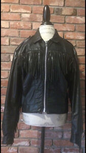 Vintage Faux Leather Coat Fringe Jacket Black Medium Tassels