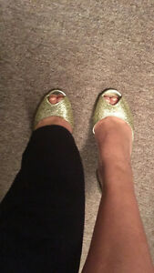 Gold Peep Toe Shoes worn once