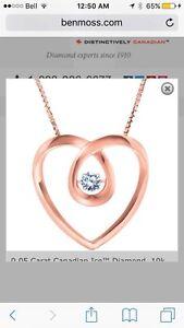 10k Rose Gold Diamond Pendant