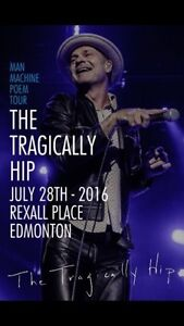 2 tickets to tragically hip July 28, row 2 section 104