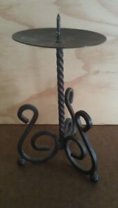 Black Wrought Iron CANDLE HOLDER: Sturdy, Traditional Design